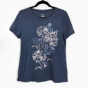 Tops - Venice Beach Graphic Tee Flowers Blue Medium